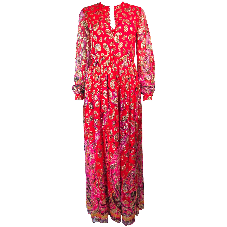 112d5d40bd Vintage OSCAR DE LA RENTA 1970 s Silk Chiffon Bohemian Lame Maxi Hostess  Gown at 1stdibs