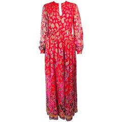 Vintage OSCAR DE LA RENTA 1970's Silk Chiffon Bohemian Lame Maxi Hostess Gown