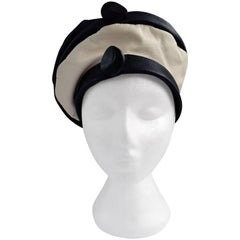 1960s Navy and White Leather Beret Hat