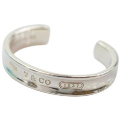 Tiffany & Co Sterling Silver Logo Cuff Bangle Bracelet
