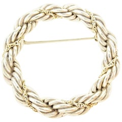 Tiffany & Co. Sterling Silver Gold Chain Braided Lapel Pin Brooch