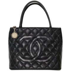 Chanel Caviar Leather Medallion with Silver Hardware in Black Shoulder Handbag