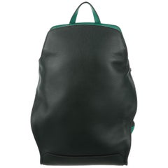 Hermes Black Green Leather Backpack Travel Shoulder Bag