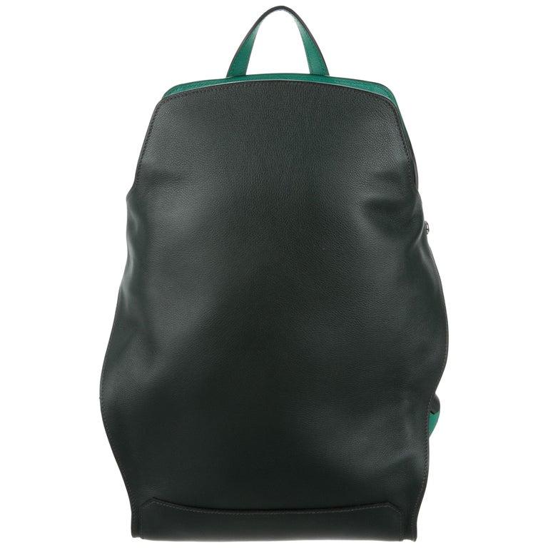 Hermes Black Green Leather Backpack Travel Shoulder Bag