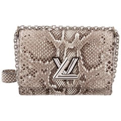 Louis Vuitton Snakeskin Silver LV Chain Clutch Shoulder Flap Bag