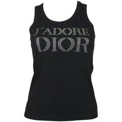 Christian Dior J'Adore Dior Swarovski Logo T-Shirt in Black, c. 2000, Size 8 US