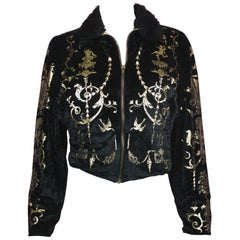Vivienne Westwood Portrait Collection Black Velour Bomber Jacket, AW 1990