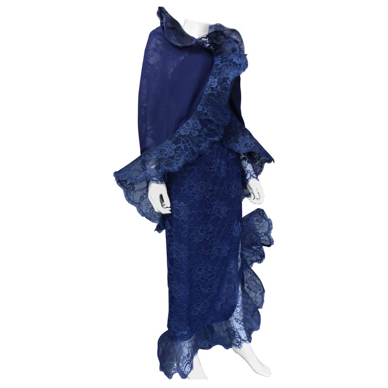 Evening dress and cape attributed to Pierre Cardin Couture, Circa 1985 For Sale