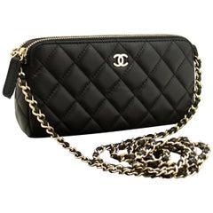 CHANEL Wallet On Chain WOC Double Zip Chain Shoulder Bag Black
