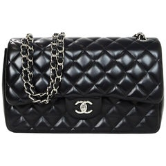 Chanel Black Quilted Lambskin Leather Double Flap Jumbo Bag with Silvertone