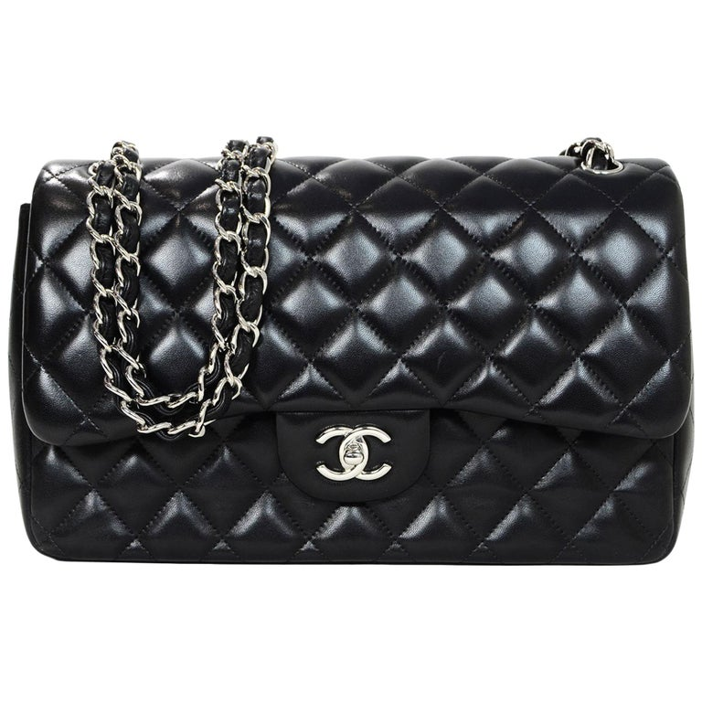 3b49276c1b4e Chanel Black Quilted Lambskin Leather Double Flap Jumbo Bag With