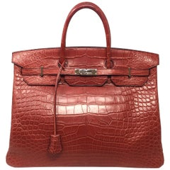 Hermes Paris Sac Rouge Matte Porosus Crocodile Leather Birkin 40 Bag, 2013