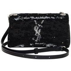 Saint Laurent Black/Silver Sequin Toy West Hollywood Crossbody Bag with DB