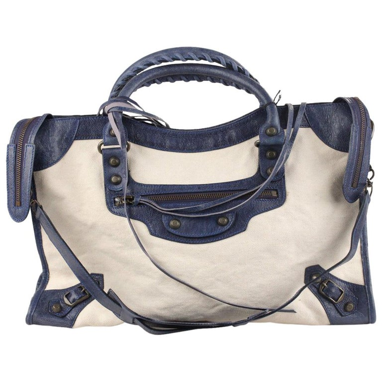 ec7b15cfe037 Balenciaga Canvas and Leather Classic City Satchel Bag For Sale at 1stdibs