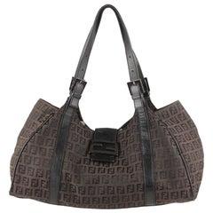 Fendi Brown Monogram Canvas Hobo Shoulder Bag