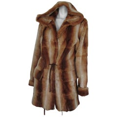 sheared mink fur jacket with hood