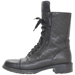 Chanel Black Quilted Leather CC Combat Boots Sz 38.5 w. Box & Dust Bag