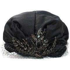 Jennifer Behr Black Swarovski Crystal-Embellished Silk & Net Turban Hat NWT