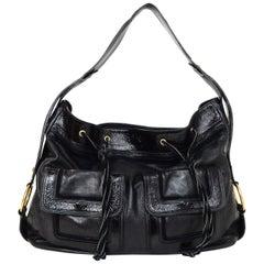 Yves Saint Laurent YSL Black Leather Drawstring Hobo Bag