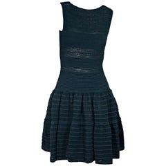 Teal Blue Alaia Fit-and-Flare Dress