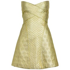 Vintage Alexander McQueen 2007 Gold Armor Mini Dress
