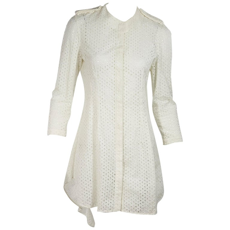 White Alexander McQueen Cotton Eyelet Dress