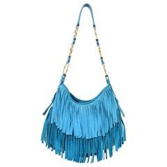 Yves Saint Laurent Aqua Suede & Leather Fringe Nadja Bag