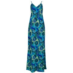 Dries Van Noten Vintage Teal Floral Slip Dress, 1997