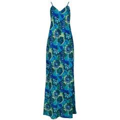 Dries Van Noten Vintage Teal Floral Slip Dress, 1997