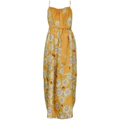 Dries Van Noten Vintage Mustard Yellow Floral Slip Dress