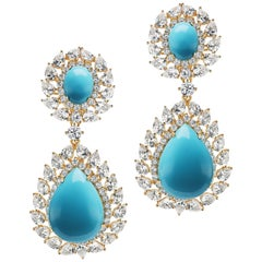 Magnificent Costume Jewelry Diamond Turquoise Sterling Silver Vermeil Earrings