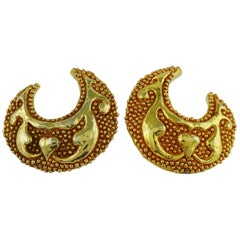 Christian Lacroix Vintage Massive Crescent Moon Shaped Clip-On Earrings