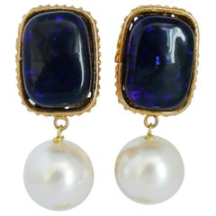 Chanel Vintage Gripoix Blue Pate de Verre and Faux Pearl Dangling Earrings