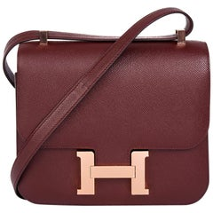 Hermes Bordeaux Epsom Leather Constance 24 Bag, 2017