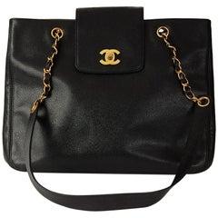 55ba2dfb465a Chanel Black Caviar Leather Vintage Classic Shoulder Bag
