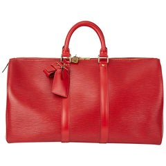 1994 Louis Vuitton Red Epi Leather Vintage Keepall 45