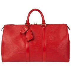 1995 Louis Vuitton Red Epi Leather Vintage Keepall 45