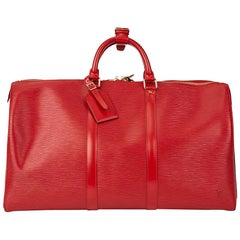 1996 Louis Vuitton Red Epi Leather Vintage Keepall 50