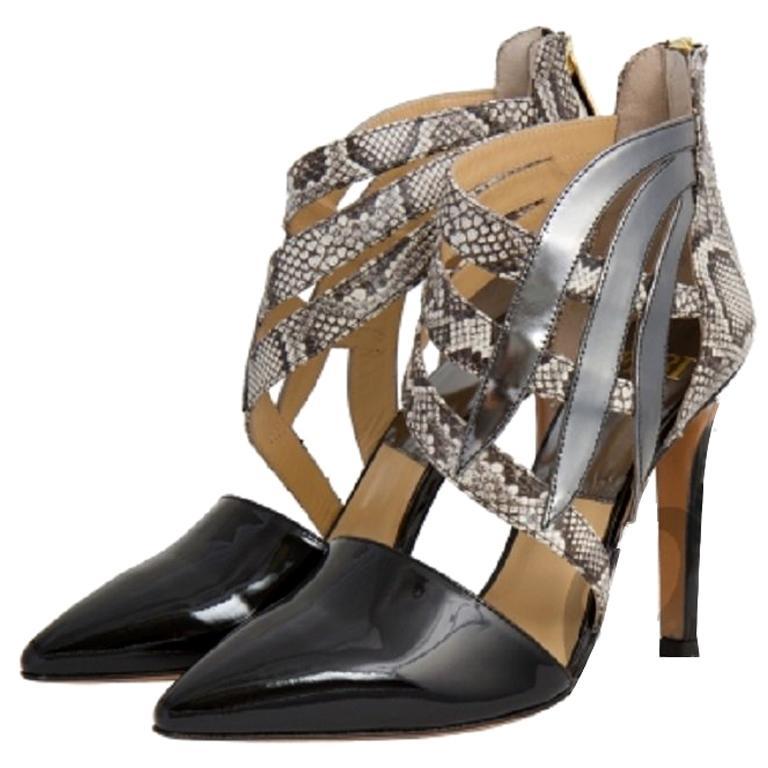 Feri Black Patent Napa Leather Silver and Snake Print Stiletto Shoes