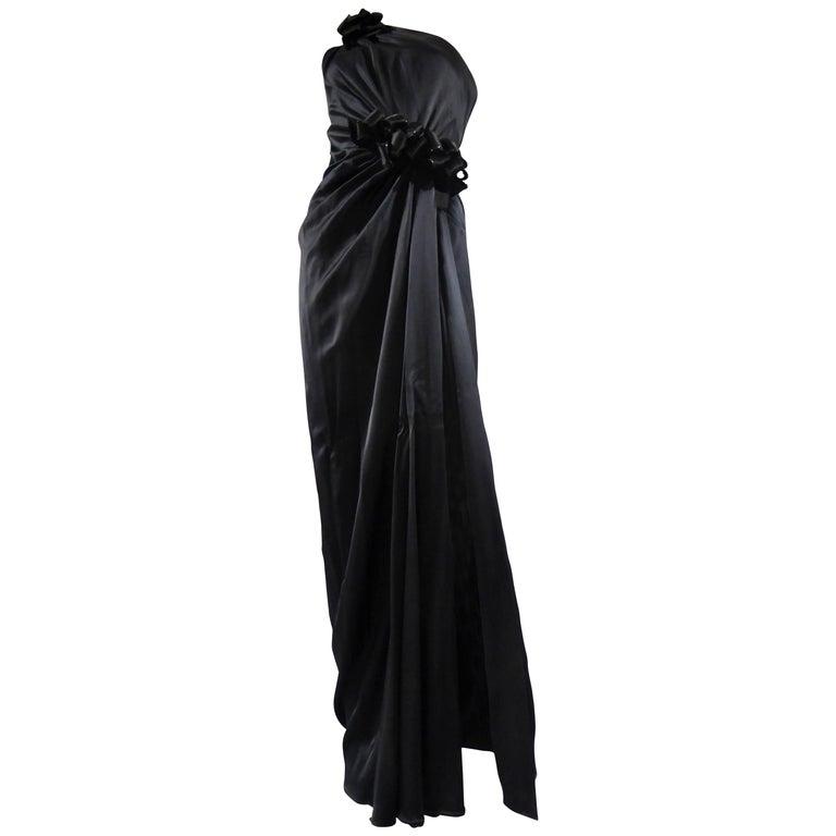 Yves Saint Laurent Couture black silk satin long wrap dress, Circa 1989 For Sale