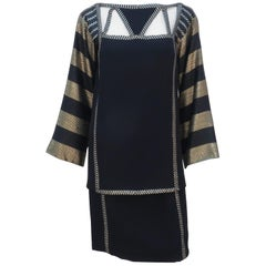 1970's Bob Mackie Black & Gold Lamé Art Deco Style Dress Ensemble