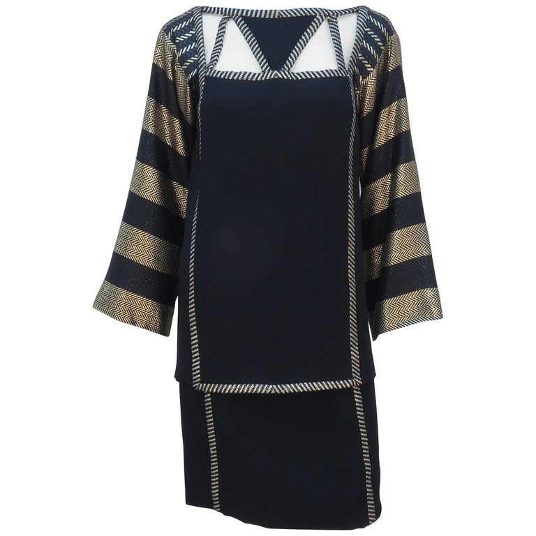 1970's Bob Mackie Black & Gold Lamé Art Deco Style Dress Ensemble For Sale