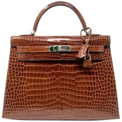 HERMES Sac KELLY 32 Sellier Croco Porosus Miel Leather, 2009