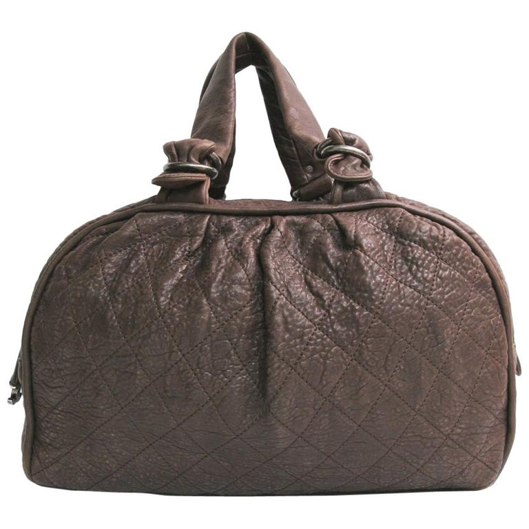 CHANEL Large Bag in Brown Bull Leather For Sale