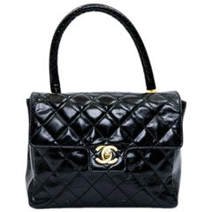 CHANEL Vintage Bag in Quilted Semi-Gloss Black Leather