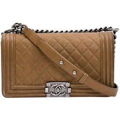 CHANEL Boy Bag in Gold Color Grained Calfskin Leather