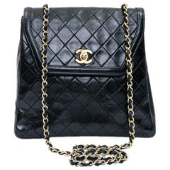 CHANEL Vintage Bag in Black Quilted Leather