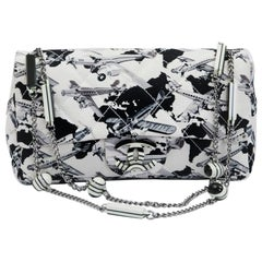 Chanel Flap Bag in Ecru Canvas with Gray and Black Print