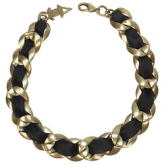 Chanel Choker Necklace in Matte Gold Chain Metal Interlaced with Black Ribbon