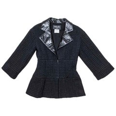 CHANEL Jacket in Black Tweed and Shiny Threads Size 36FR